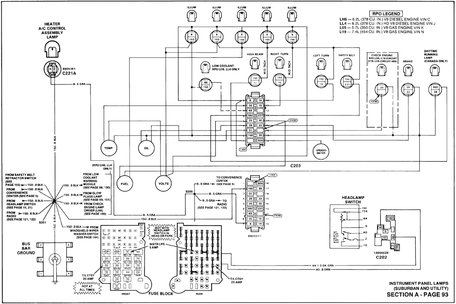 1990_suburban_instrument_panel 1990 chevy suburban 4x4 gran prix instrument panel bulb replacement 1990 suburban instrument cluster wiring diagram at crackthecode.co